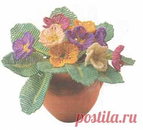 Брошь-цветок и примула / Броши, Цветы / Biserok.org