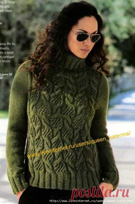 Пуловер (араны и ажур)