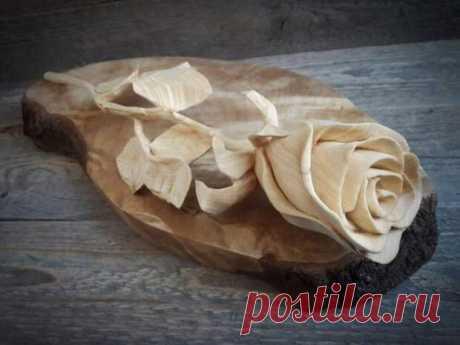 Невероятная резьба по дереву. Роза из куска дерева своими руками - Самоделкино - медиаплатформа МирТесен Давайте посмотрим, что можно сделать из обычного деревянного бруска, при наличии таланта и прямых рук.