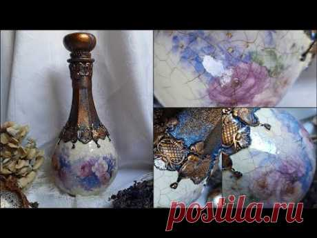 Decorating glass ♡♡♡Decoupage tutorial - YouTube
