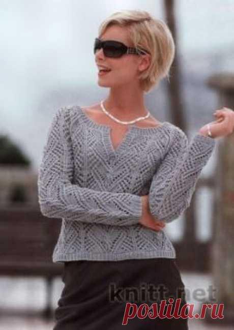 Ажурный пуловер реглан серого цвета спицами - Все своими руками