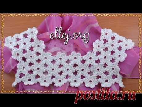♦ Цветочная кокетка крючком • Безотрывное вязание • ellej