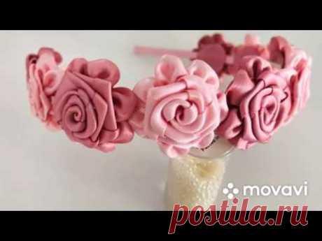 МК Ободок с цветами из лент 🌹🌹. DIY Headband with ribbon flowers 🌹🌹🌹