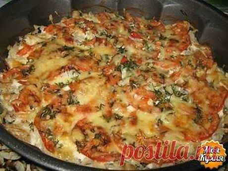 Рыба запеченная с помидорами и сыром       ☕➩➩➩...Показать Полностью.