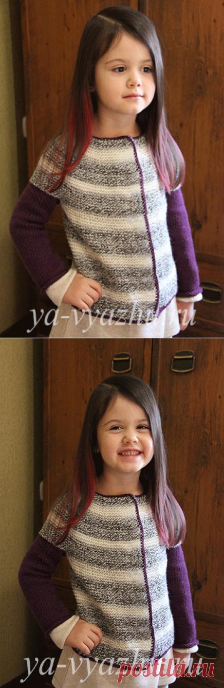 Двухцветная кофточка для девочки 4-х лет спицами | Вязальное настроение...