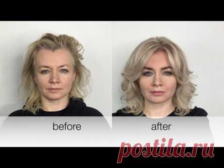 Мастеркласс. Шикарный Блонд на седых волосах   45+. Chic Blond for grey hair 45+. Tutorial.