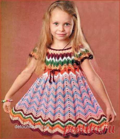 Вязаное платье для девочки с узором «зигзаг» - Вязание платьев для девочек - Вязание девочкам - Вязание для малышей - Вязание для детей. Вязание спицами, крючком для малышей