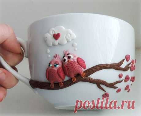 Декор чашек полимерной глиной