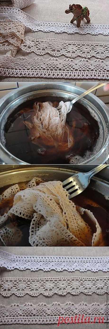Тонируем кружево чаем и кофе под винтаж - Ярмарка Мастеров - ручная работа, handmade
