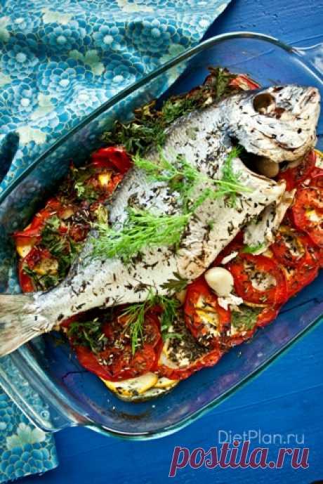 Сибас, запеченный на овощной подушке | Dietplan.ru