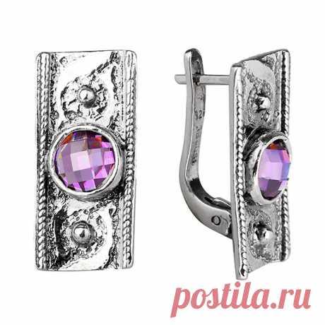 Серебряные серьги Yaffo с фианитом цвета Аметист SAE929 - Женские украшения