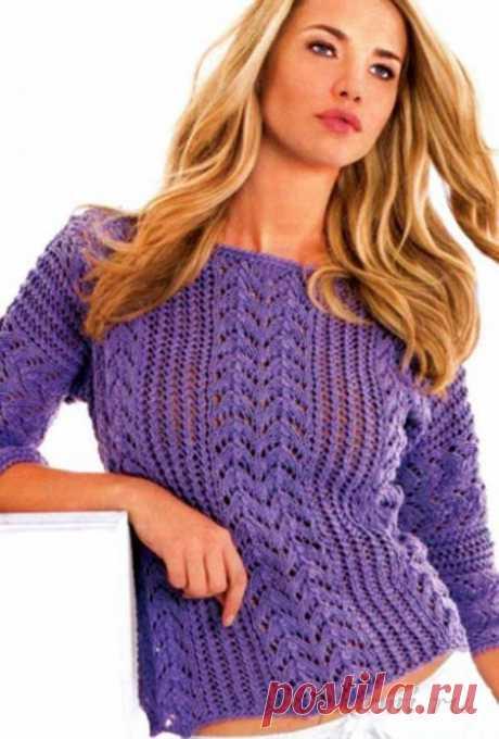 Ручками.ру © Пуловер спицами . Вязаный пуловер спицами интересным узором с ажурными полосами. Эта модель пуловера будет хорошо смотреться с брюками и прекрасно подойдет для отдыха. Данная модель из журнала Сабрина.