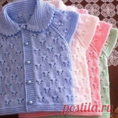Узоры для вязания детских кофточек спицами | Вяжем детям Узор для вязания детских кофточек спицами - схема. Рапорт узора 10 петель +2 кромочные и 16 рядов.
