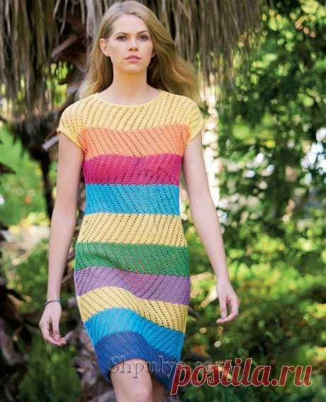Летнее полосатое платье с дырчатым узором — Shpulya.com - схемы с описанием для вязания спицами и крючком