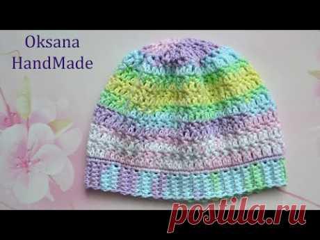 Нежная шапочка для самых маленьких. Мастер класс. Crocheted hat pattern