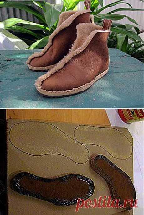 Шьем обувь из старой дубленки.