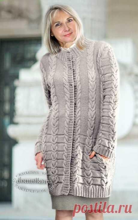 Вязаный кардиган спицами или пальто - 4 женские модели со схемами вязания