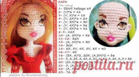 Секрет вязания анатомической головы куклы. Перевод Юлии Филоновой • ami.dolls • амигуруми.только куклы  1 ряд - 6 сбн в КА 2 ряд - 6 приб = 12 3 ряд - (1 сбн, приб)* 6 = 18 4 ряд - (2 сбн, приб)* 6 = 24 5 ряд - (3 сбн, приб)* 6 = 30 6 ряд - (4 сбн, приб)* 6 = 36 7 ряд - (5 сбн, приб)* 6 = 42 8, 9 ряды - 42 сбн 10 ряд - (5 сбн, уб)* 6 = 36 11, 12 ряды - 36 сбн 13 ряд - (4 сбн, уб)* 6 = 30 14 ряд - 30 сбн 15 ряд - 8 сбн, 5 приб, 4 сбн, 5 приб, 8 сбн = 40 16, 17 ряды - 40 сбн...
