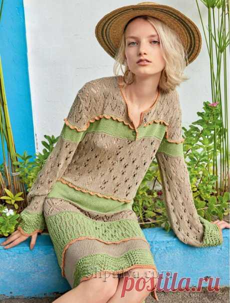 Разноцветное ажурное платье длинными рукавами — Shpulya.com - схемы с описанием для вязания спицами и крючком