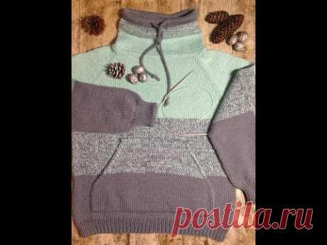 Вяжем свитер Худи спицами для мальчика. Вяжем свитер регланом сверху ,горловину обрабатываем ложной кетлевкой  ,так же в вязании используем кетельный шов и два вида закрытия петель .