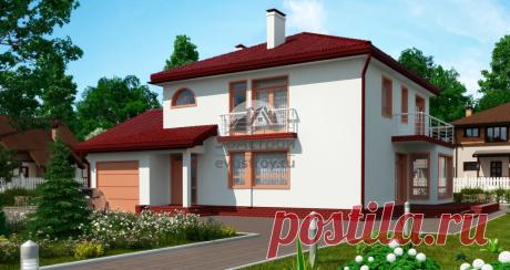 Готовый проект двухэтажного дома 191 м2 с гаражом в европейском стиле.