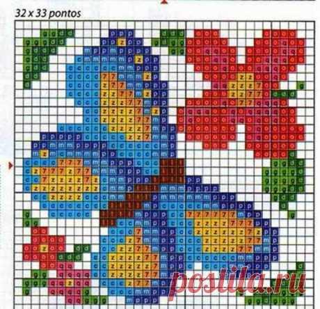 Схема вышивки крестом бабочки: простые, маленькие схемы.
