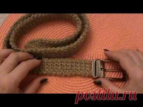 Ремень, связанный из джута крючком. Видео МК   Вязание крючком для начинающих