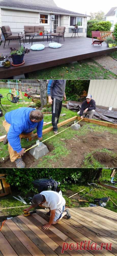 Как создать деревянную палубу возле дома | СДЕЛАЙ САМ!