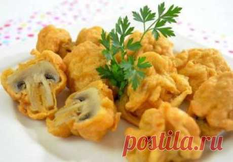 Champignons in the crackling batter (without eggs)