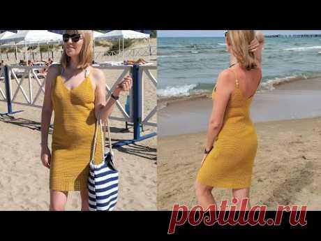 Женское пляжное платье/сарафан крючком. Women's beach dress crochet.