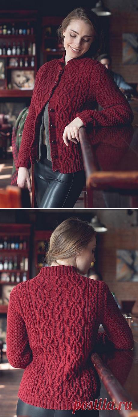 Шикарный бордовый жакет спицами, Вязание для женщин