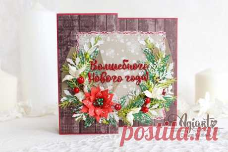 Мастер-класс по новогодней открытке от Ольги Килиной  Предлагаю вместе со мной сделать новогоднюю открытку вот по такой схеме: Я использую листы картона А4 - от одного отрезаю квадрат 10,5*10,5 см, а от другого листа - полосу 14,8*29,7 см (ее бигую пополам на 14,8 см, затем одну из сторон еще пополам - на отметке 7,4 см) Заготовку оклеиваю скрап-бумагой со всех сторон: квадраты 14,4 см - 2 шт; полоски 14,4*7 см - 3 шт. и одна полоска 14,4*7,2 см (для лицевой части) - ее пр...