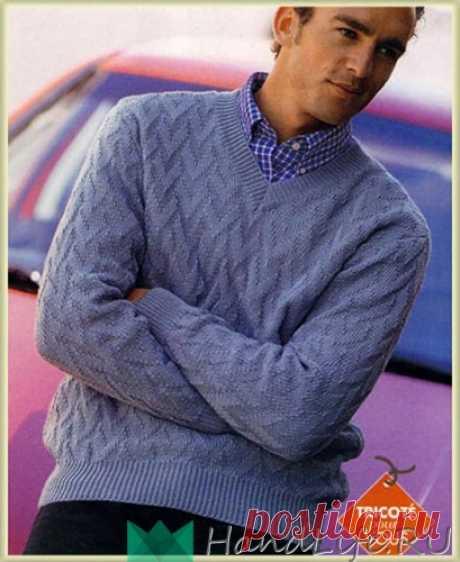 Пуловер для мужчин с рельефным узором / Вязание