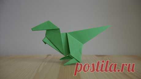 Оригами. Как сделать динозавра из бумаги (видео урок) / Наши работы своими руками / Лунтики. Развиваем детей. Творчество и игрушки