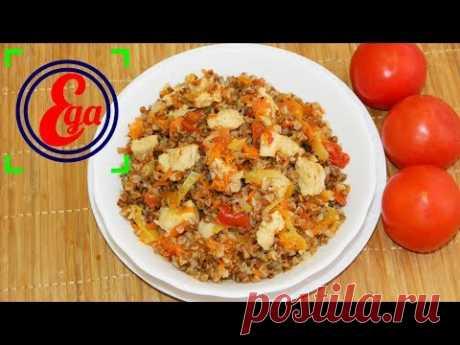 Быстрый ужин на одной сковороде. Гречка с овощами и куриным мясом