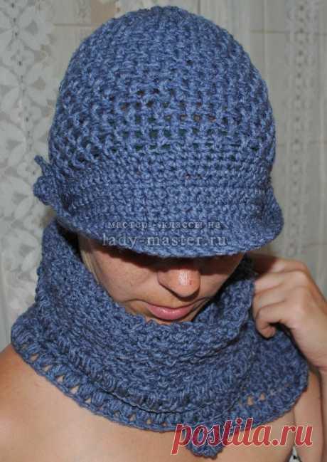 Сегодня я предлагаю вам мастер - класс по вязанию симпатичной, модной шапочки с козырьком...