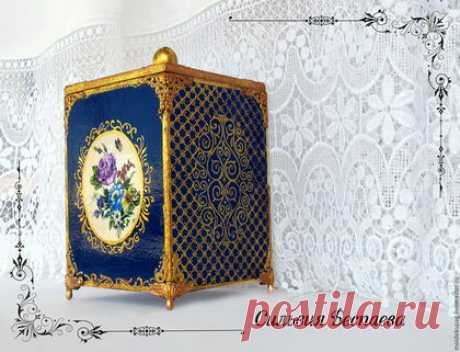 Купить Короб-шкатулка Ностальгия - тёмно-синий, короб для хранения, шкатулка ручной работы