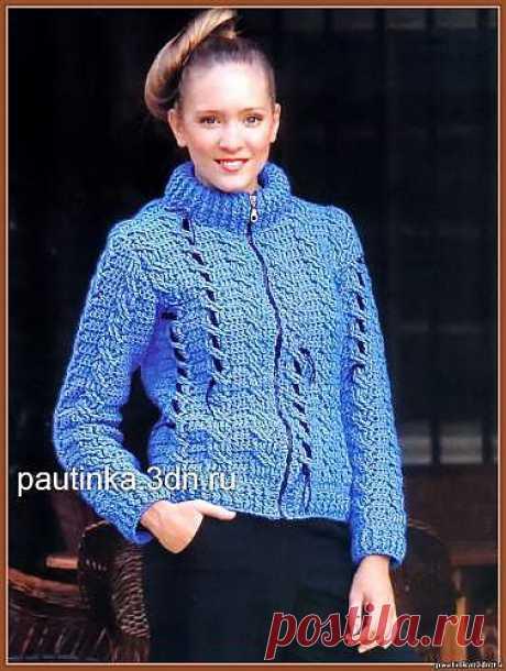 Вязаный жакет ярко-голубого цвета - Схемы вязания жакетов