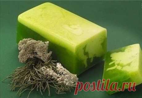 Grass soap the hands
