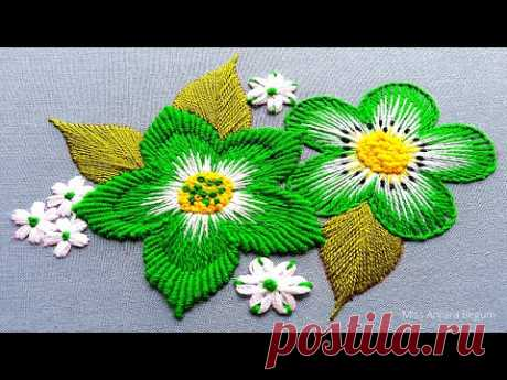 Hand Embroidery Green Flower, New Style Flower Embroidery, Combined Hand Embroidery Design work-269
