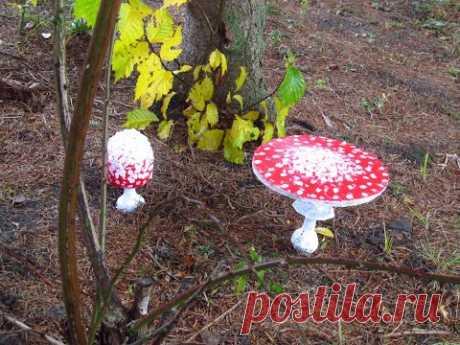 Грибы из цемента для сада. Поделки для сада своими руками.Cement mushrooms diy.