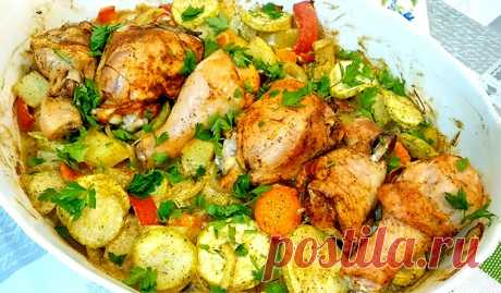 Chicken with vegetables in an oven