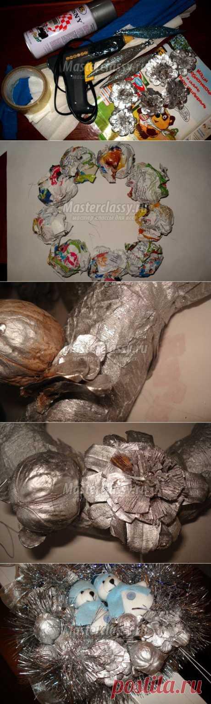 Поделки из природных материалов. Рождественский венок. Мастер класс с пошаговыми фото
