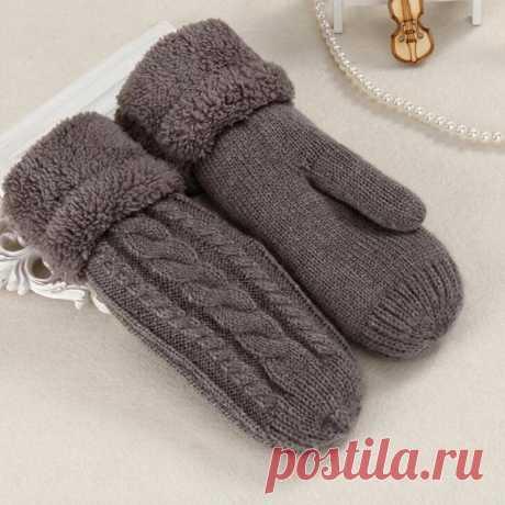 Зимние женские варежки из толстой шерсти   Женские перчатки  