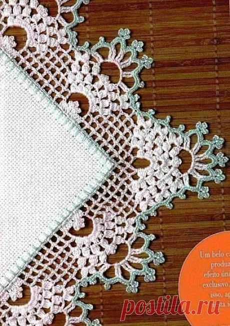 Обвязка края крючком со схемами. Ажурная обвязка скатерти крючком | Домоводство для всей семьи.
