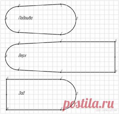 Выкройка носков - домашних сапожков / Простые выкройки / ВТОРАЯ УЛИЦА