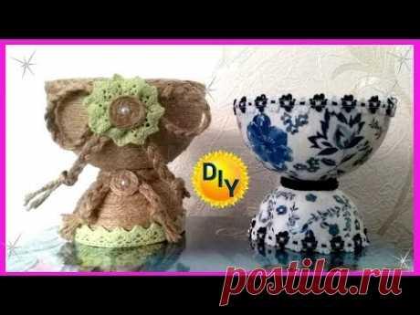Необычные вазы из джута и под гжель своими руками из бросового материала.