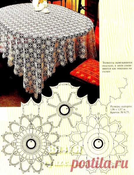 Прямоугольная скатерть крючком схема