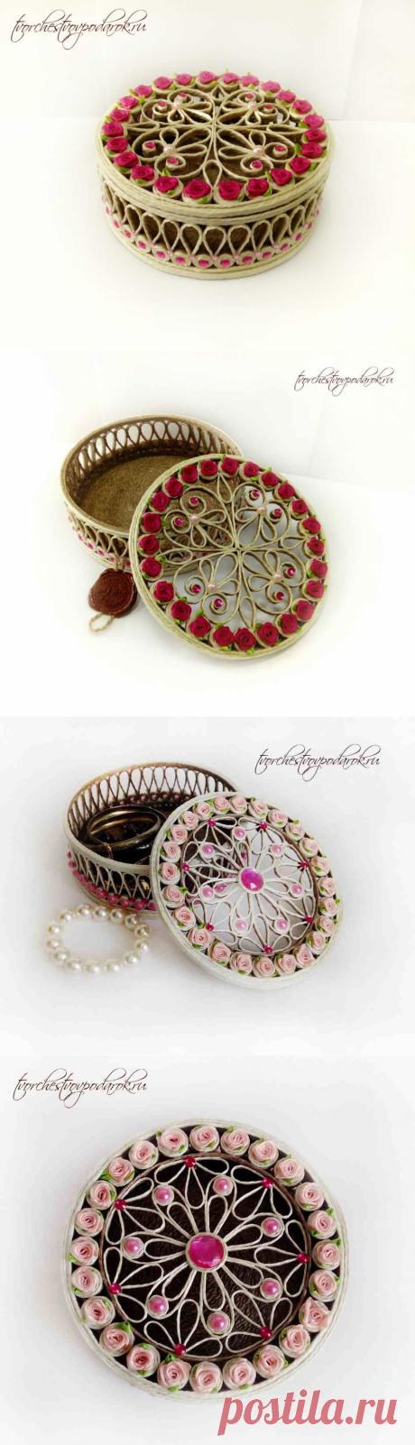 Шкатулка с цветами | Джутовая филигрань | Шкатулка из джута