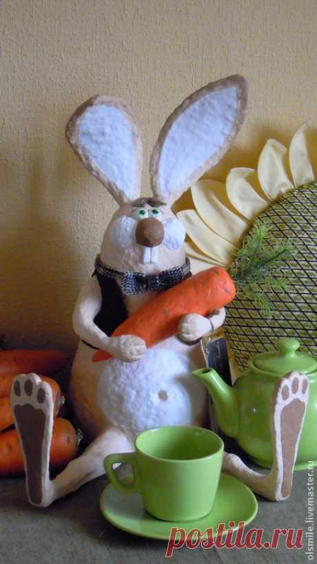 """Купить """"Крол Фрол"""" Papier-mache """"Krol Frol"""" - заяц, морковь, животные, Папье-маше"""